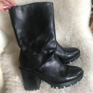 ZARA • Black Zipper Boots Size 6